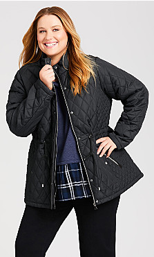 Plus Size Faux Fur Lined Quilted Anorak - black