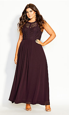 Women's Plus Size Panelled Bodice Maxi Dress - plum
