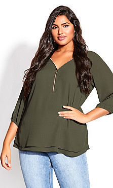 Plus Size Sexy Fling Elbow Sleeve Top - fern