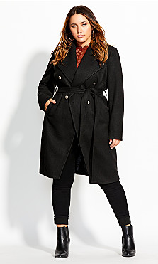 Women's Plus Size Sassy Military Coat - black