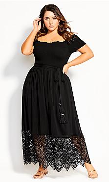 Women's Plus Size Embroidery Hem Maxi Dress - black