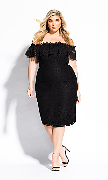 Women's Plus Size Lace Flourish Dress - black