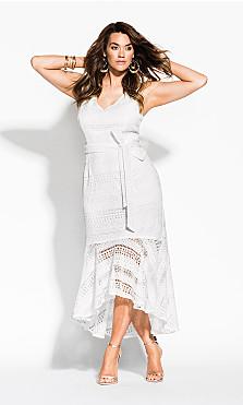 Women's Plus Size Simmer Lace Dress - white