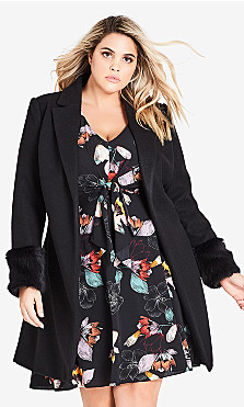 Women's Plus Size Fluffe Coat - black