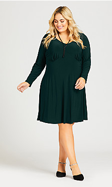 Plus Size V Neck Ruched Front Dress - green
