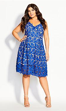 Women's Plus Size So Fancy Crochet Fit & Flare Dress - blue
