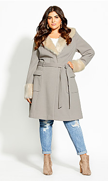 Women's Plus Size Make Me Blush Coat - stone