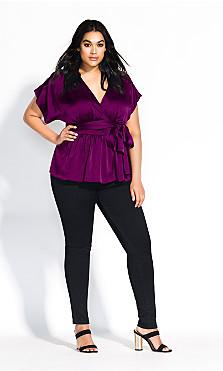 Women's Plus Size Tangled Top - cerise