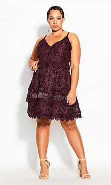 Plus Size Nouveau Lace Dress - plum