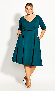Women's Plus Size Cute Girl Elbow Sleeve Dress - jade