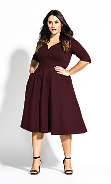 Cute Girl Elbow Sleeve Dress - oxblood