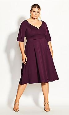 Women's Plus Size Cute Girl Elbow Sleeve Dress - plum