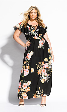 Women's Plus Size Tuscan Rose Maxi Dress - black