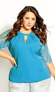 Plus Size Short Lace Sleeve Top - aqua