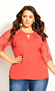 Plus Size Short Lace Sleeve Top - coral