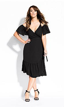 Women's Plus Size Wrap Off Shoulder Dress - black