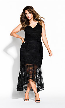 Women's Plus Size Simmer Lace Dress - black