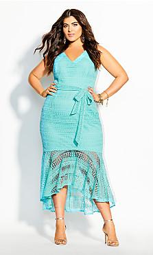 Plus Size Simmer Lace Dress - topaz