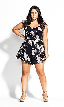 Women's Plus Size Lotus Playsuit - black