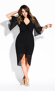 Women's Plus Size Drawn Up Dress - black
