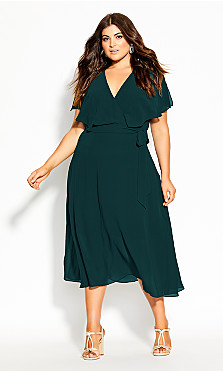 Plus Size Softly Tied Dress - forest
