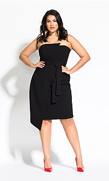 Women's Plus Size Origami Dress - black