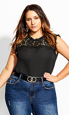 Women's Plus Size Lace Angel Top - black