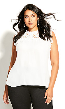 Plus Size Lace Angel Top - ivory