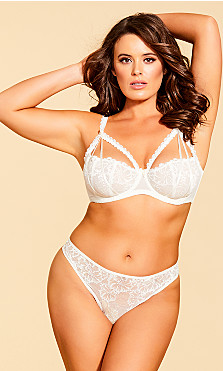 Women's Plus Size Eve Lace Strappy Thong - Ivory