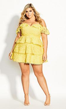 Women's Plus Size Angel Gem Dress - buttercup