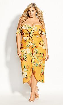 Women's Plus Size Golden Flutter Dress - gold