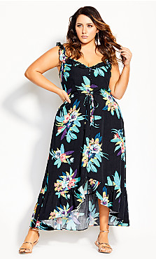 Elba Frill Maxi Dress -  black