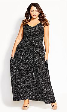 Confetti V Maxi Dress - black
