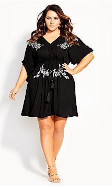 Plus Size Embroidery Allure Tunic - black