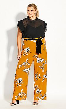 Plus Size Serene Floral Pant - gold