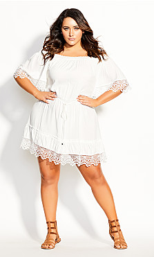 Plus Size Crochet Detail Dress - ivory