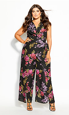 Women's Plus Size Vintage Floral Jumpsuit - black