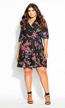 Plus Size Vintage Floral Dress - black