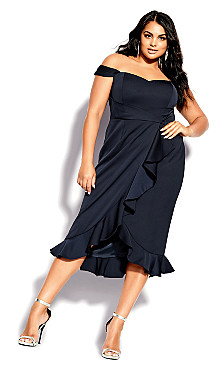 Plus Size Hypnotize Dress - navy