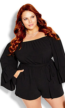 Plus Size Clothing - Romantic Sleeve Playsuit - black