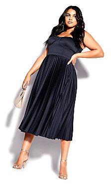 Plus Sizer Navy Blue Midi Ahanna Dress