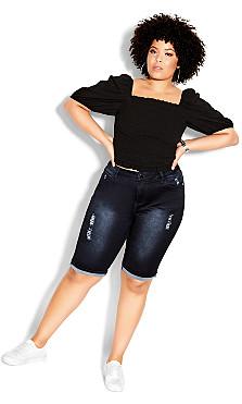 Plus Size Turn Up Knee Length Short - indigo