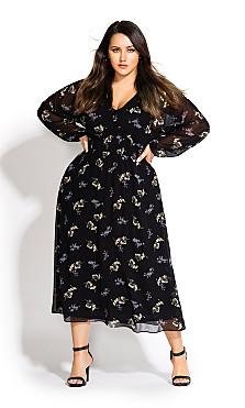 Women's Plus Size Gentle Floral Dress - black