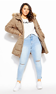 Plus Size Longline Puffa Jacket - taupe