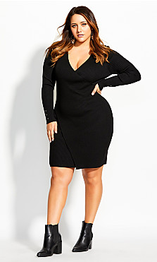 Women's Plus Size V Knitted Dress - black