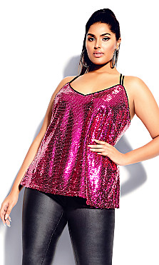 Plus Size Glimmer Top - magenta