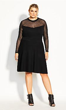 Women's Plus Size Spot Sweater Dress - black