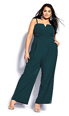 Plus Size So Sassy Jumpsuit - emerald