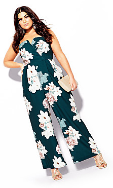 Women's Plus Size Emerald Floral Jumpsuit - emerald