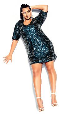 Sequin Glam Dress - teal